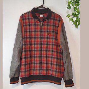 NIKE SB Plaid Orange Gray Jacket